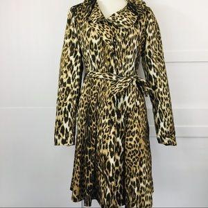 T. Tahari Leopard Print Trench/Raincoat